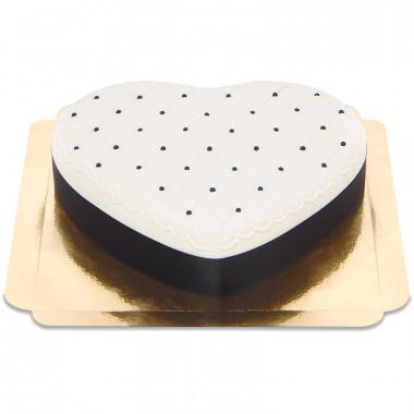 Deluxetaart in hartvorm, zwart wit