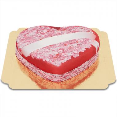 Liefdesboodschap taart in hartvorm