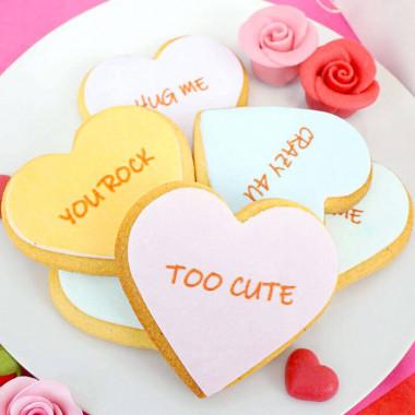 Koekjes in hartvorm met liefdesboodschap (12 stuks)