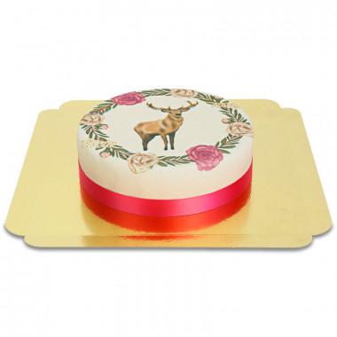 Hert met bloemenkrans taart