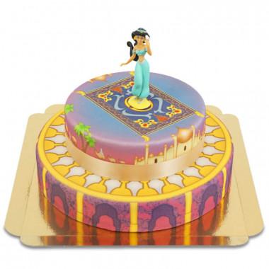 Prinses Jasmin op tweedelige tapijt op paleistaart