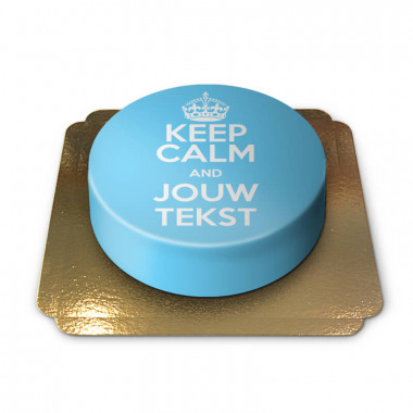 "Blauwe ""Keep Calm and..""-taart"