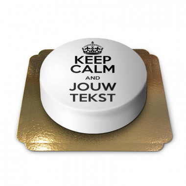 """Witte """"Keep Calm and..""""-taart"""