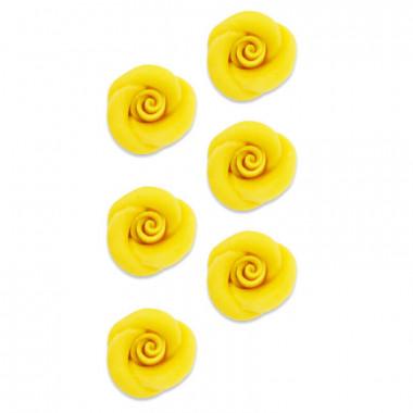 Marsepein Roos geel, ca. 35 mm (6 stuks)