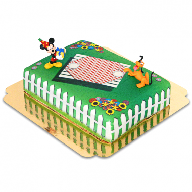 Mickey Mouse en Pluto op verjaardag picknick taart