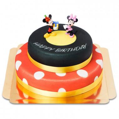 Mickey en Minnie op twee-verdiepingen verjaardagstaart