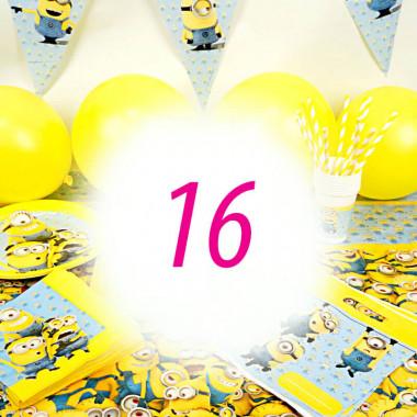 Partyset Minions voor 16 kinderen - alleen decoratie, zonder taart
