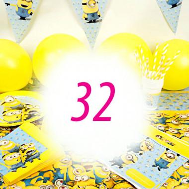 Partyset Minions voor 32 kinderen - alleen decoratie, zonder taart
