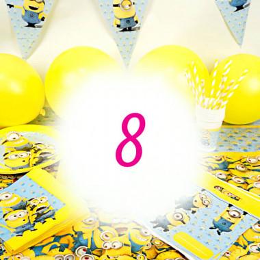 Partyset Minions voor 8 kinderen - alleen decoratie, zonder taart