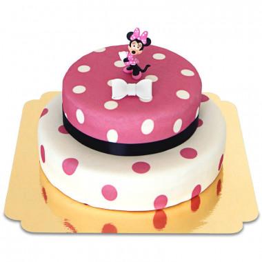 Minnie Mouse op gestipte 2-verdiepingentaart
