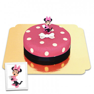 Minnie Mouse op taart met figuur en suiker strikje