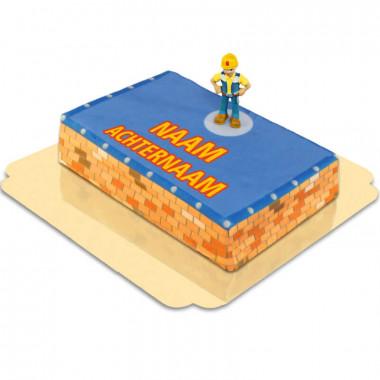 Bob de Bouwer op de bouwplaats taart