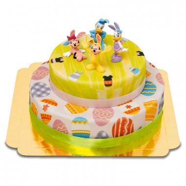 Disney figuren op twee-verdiepingen paas taart