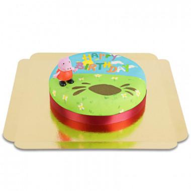 Peppa Pig op verjaardagstaart