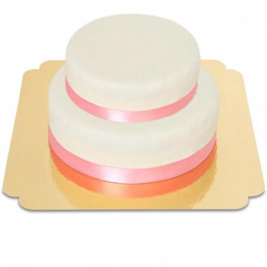 Witte 2-verdiepingen taart met taartenlint