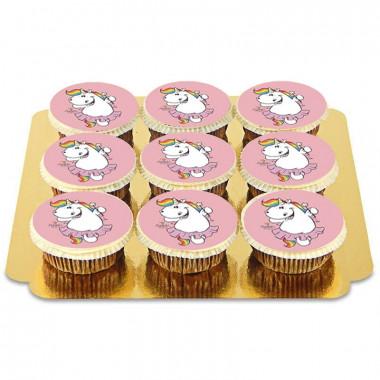 9 roze Chubby Unicorn cupcakes