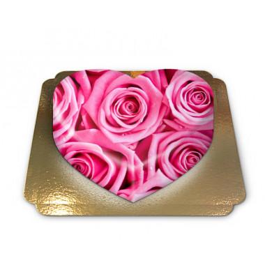 Roze rozen taart in hartvorm