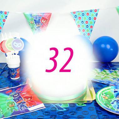 PJ Masks-Partyset voor 32 Personen - zonder taart