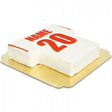 Voetbalshirt-taart wit met rood