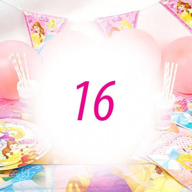 Partyset Prinsessen voor 16 kinderen - zonder taart