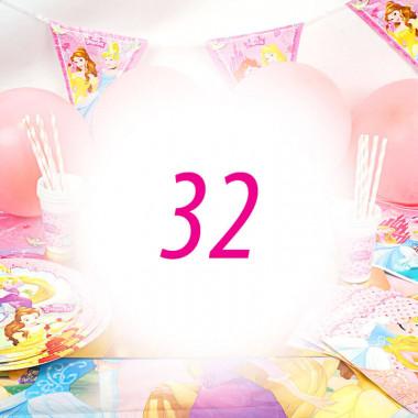 Partyset Prinsessen voor 32 kinderen - zonder taart