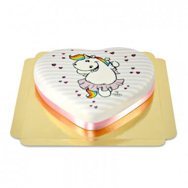 Chubby Unicorn taart in hartvorm