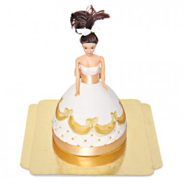 Prinsessenpop in gouden jurk taart deluxe