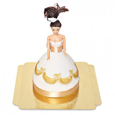 Prinsessenpop in gouden jurk taart