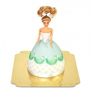 Prinsessenpop in groene jurk taart deluxe