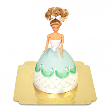 Deluxe Prinsessenpop-taart in groene jurk
