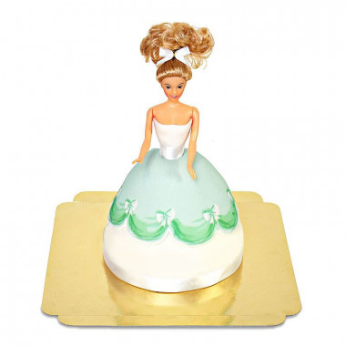 Prinsessenpop in groene jurk taart