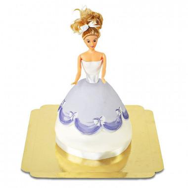 Prinsessenpop in paarse jurk taart