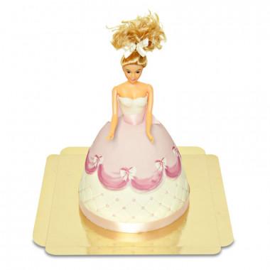 Deluxe Prinsessenpop-taart in roze jurk