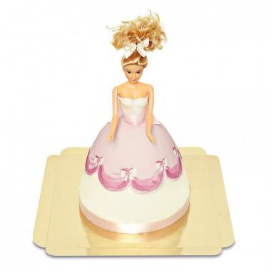 Prinsessenpop-taart in roze jurk