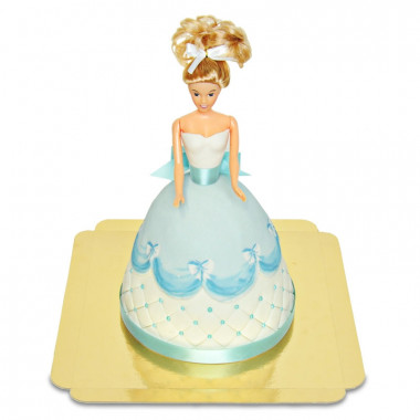 Luxe Prinsessenpop-taart in blauwe jurk