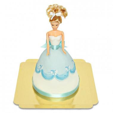 Prinsessenpop-taart in blauwe jurk