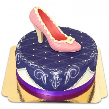 Lila deluxe taart met chocolade schoen en lint