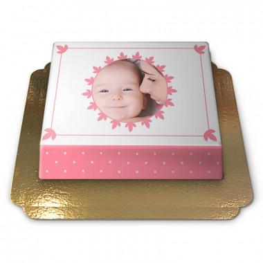 Pastel roze fototaart