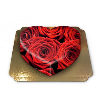 Rode rozen taart in hartvorm