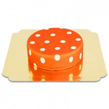Rood met witte stippen taart