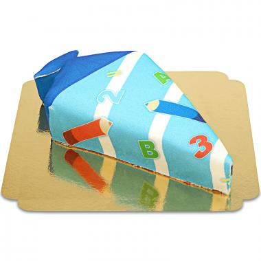 Snoepzakvorm taart met potloden lichtblauw