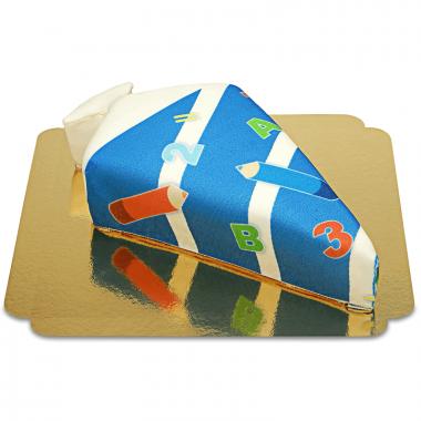 Snoepzakvorm taart met potloden donkerblauw