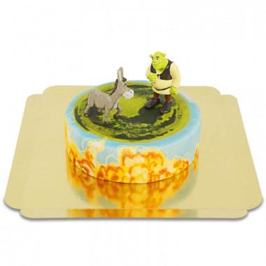 Shrek en ezel op sprookjestaart