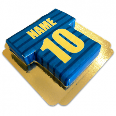 Voetbaltrui taart, blauw met goud
