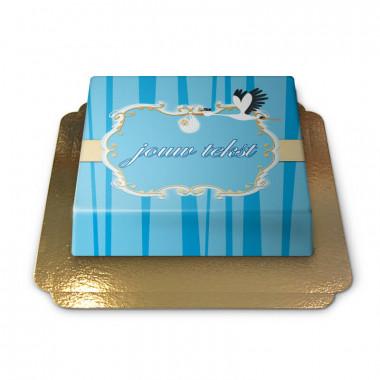Ooievaar met baby taart, Blauw