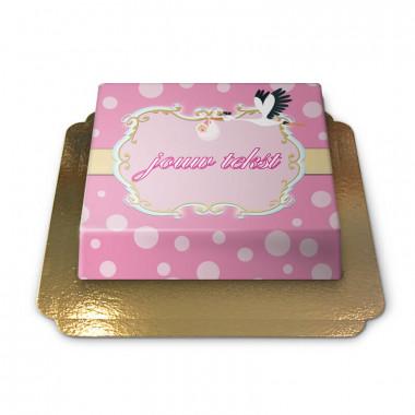 Ooievaar met Baby Taart, Pink