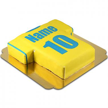 Voetbalshirt-taart, geel en blauw
