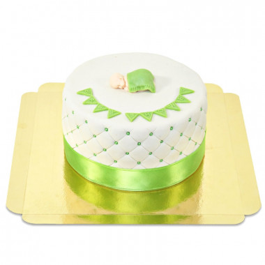 Groene Babyshower-taart - dubbele hoogte