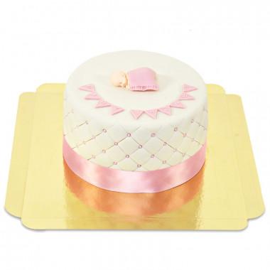 Roze Babyshower-taart - dubbele hoogte