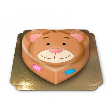 Teddybeer-taart in hartvorm